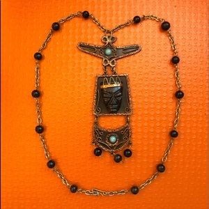 60s Aztec Metal Stone & Beads Large Necklace